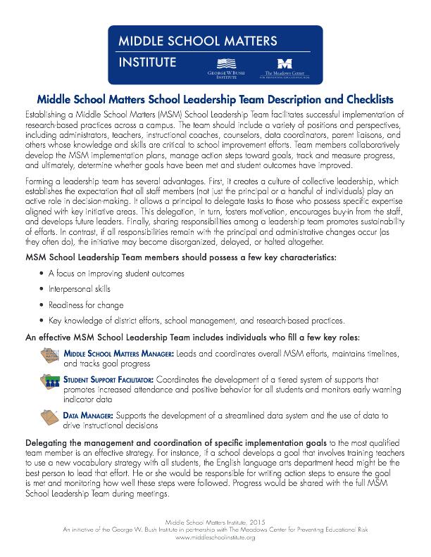 middle school leadership essay Stephanie jones_autobiographical essay/personal narrative page 1 of 6 elementary school in middle town leadership framework steering.