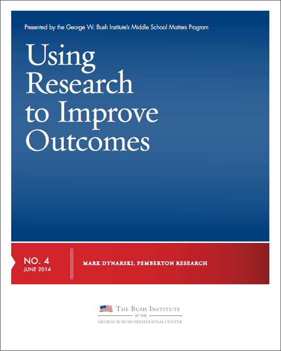 screen shot of a document that reads Using Research to Improve Outcomes