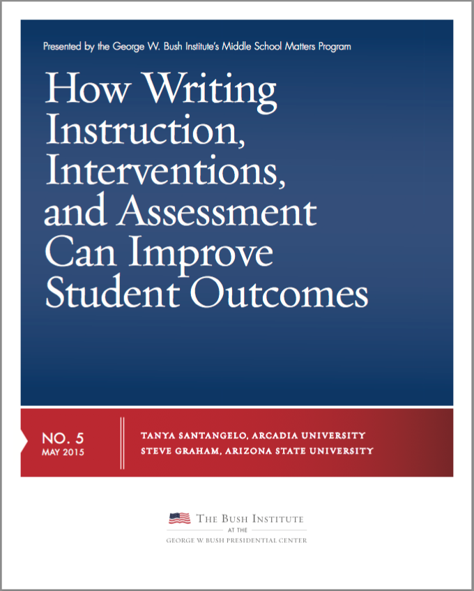 screen shot of a document that reads How Writing Instruction, Interventions, and Assessment Can Improve Student Outcomes