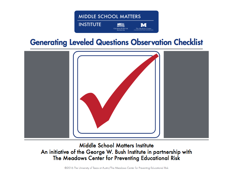 generating leveled questions checklist