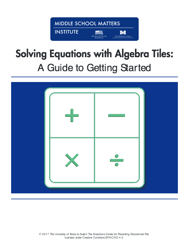 algebra tile template - solving equations with algebra tiles middle school matters